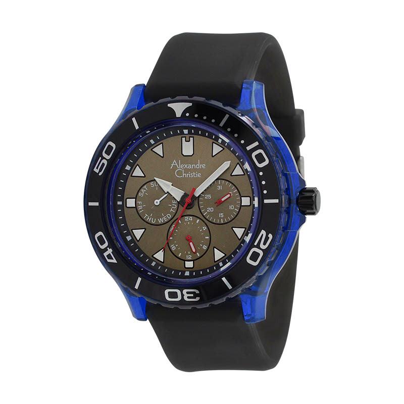 Alexandre Christie AC 6531 MFLIPBABU Jam Tangan Pria Rubber Strap Black Blue