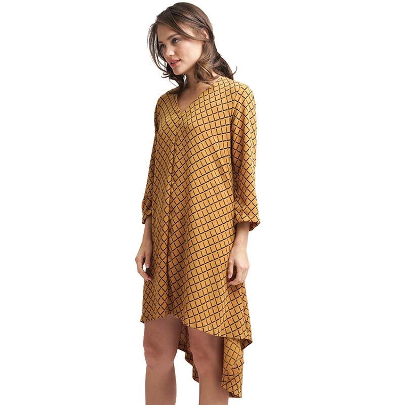 Minimal Angle Geometric Combo Dress Yellow