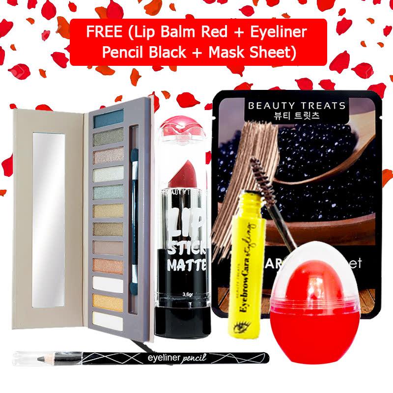 Beauty Treats Make Up Set B (Naked Eyeshadow No. 1 + Lipstick No. 6 + Eyebrowcara Dark Brown) FREE Kiss Me Lip Balm Red + Eyeliner Pencil Black + Mask Sheet Caviar