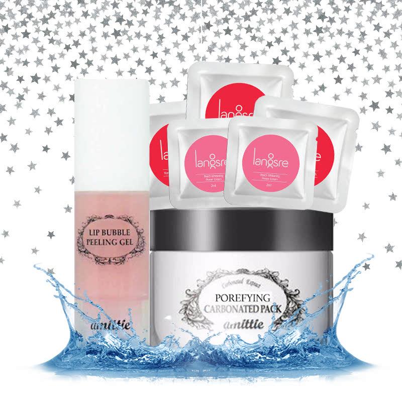 Langsre Amittie Lip Bubble Peeling Gel 10ml + Amittie Porefying Carbonated Pack 100ml + Sachet Products 5pcs