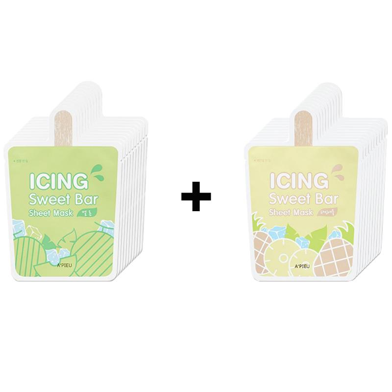 Apieu Icing Sweet Bar Sheet Mask (Melon) 10Pcs + Apieu Icing Sweet Bar Sheet Mask (Pineapple) 10Pcs
