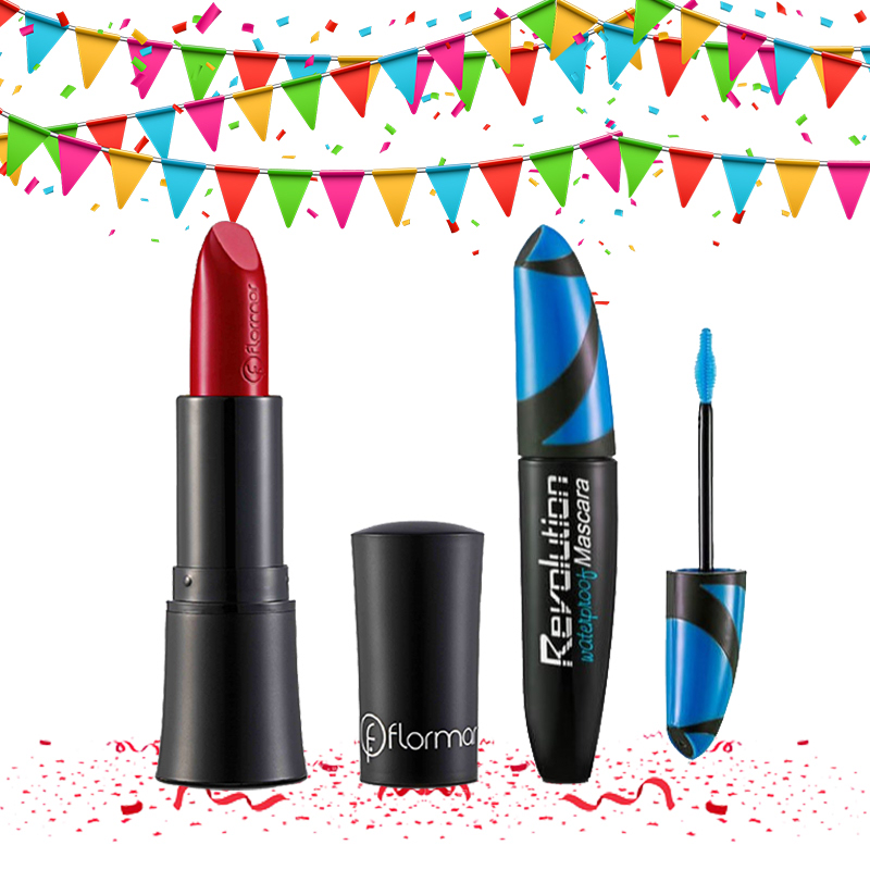 Flormar Supermatte Lipstick 211 Brick Red + Revolution Waterproof Mascara