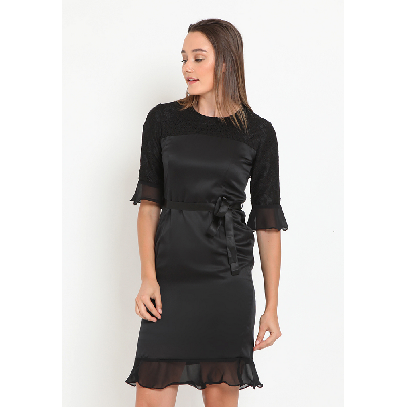 Agatha Skater Dress with Lace Black