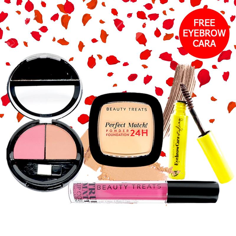 Beauty Treats Make Up Set A (Perfect Match Powder Foundation 24H No. 3 + True Matte Lip Color No. 4 + Duo Blush No. 2) FREE Eyebrowcara Dark Brown