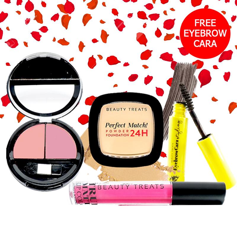 Beauty Treats Make Up Set A (Perfect Match Powder Foundation 24H No. 1 + True Matte Lip Color No. 1 + Duo Blush No. 3) FREE Eyebrowcara Dark Grey Brown