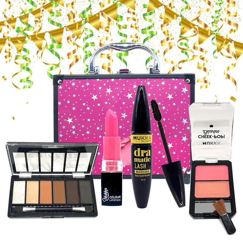 Mukka Beauty Box Star 7 (Eyeshadow Set 1 + Blusher Cheek Pop Seri 1 + Colour Lipstick No. 7 + Dramatic Mascara)