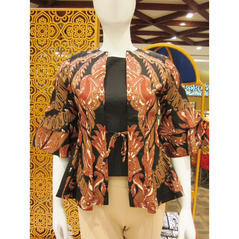 Batik Semar Mona Blouse Katun Vesta Dhayuh Lelegan 33 Maroon (Size Xl)