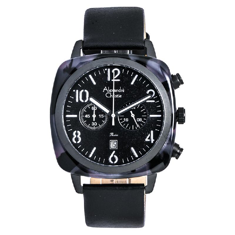 Alexandre Christie AC 6457 MC LIPBA Passion Men Chronograph Black Dial Leather Strap