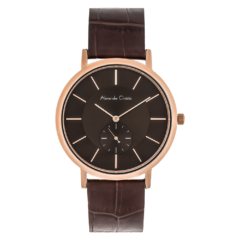 Alexandre Christie AC 8575 MS LRGBO Men Brown Dial Brown Leather Strap