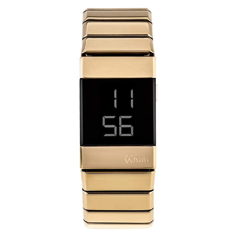 Alexandre Christie AC 9100 LH BGPBA Unisex Digital Dial Gold Stainless Steel Strap