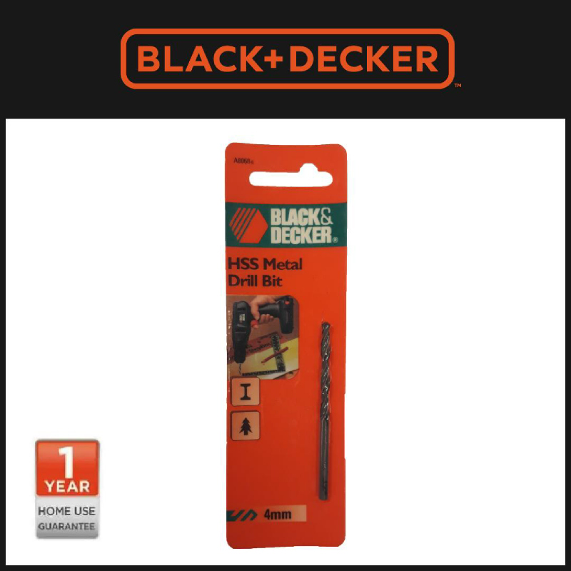 Black + Decker Mata Bor 4mm HSS Metal Drill Bit (A8068)