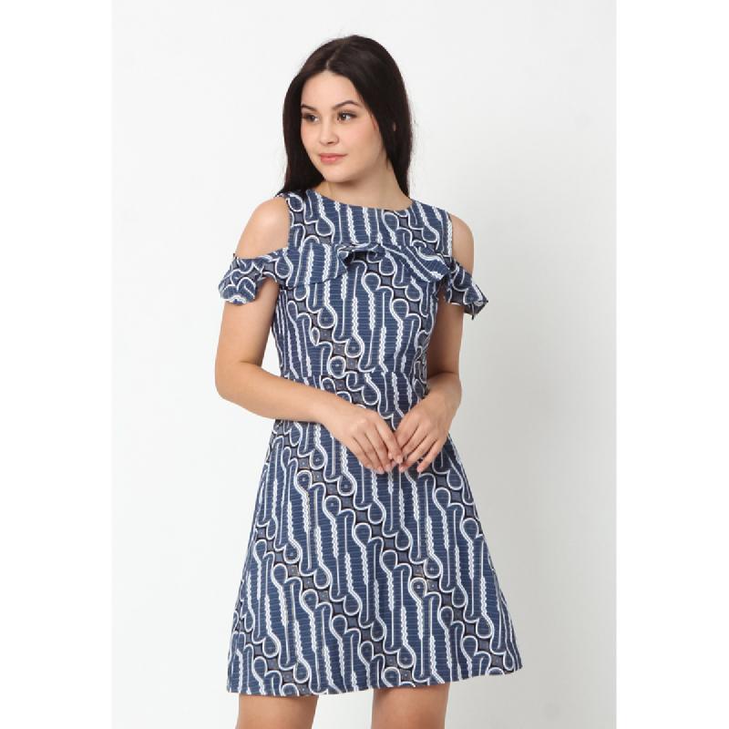 Agatha Off Shoulder Batik Shift Dress Blue