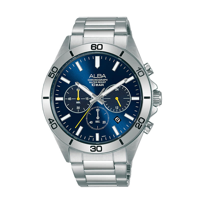 Alba Active AT3H25X1 Chronograph Men Blue Dial Stainless Steel Strap