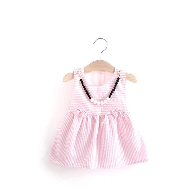 BabyLand Pinky Checkered Dress PDX001