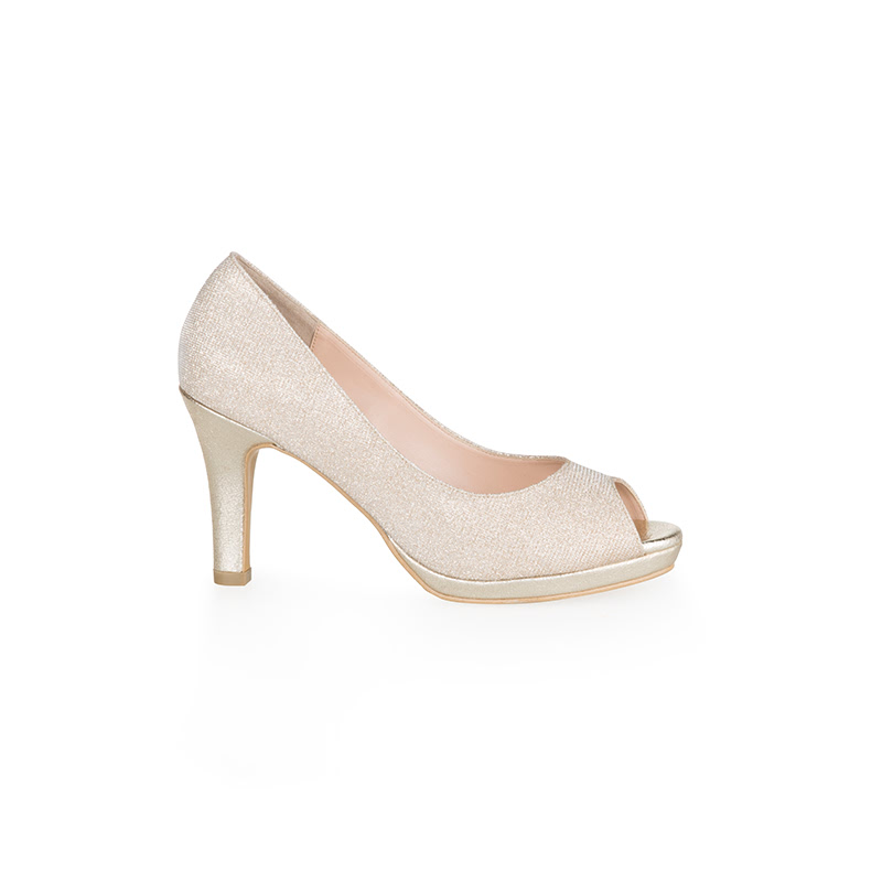 Armira Platform Heels Open Toe Shoes Light Gold