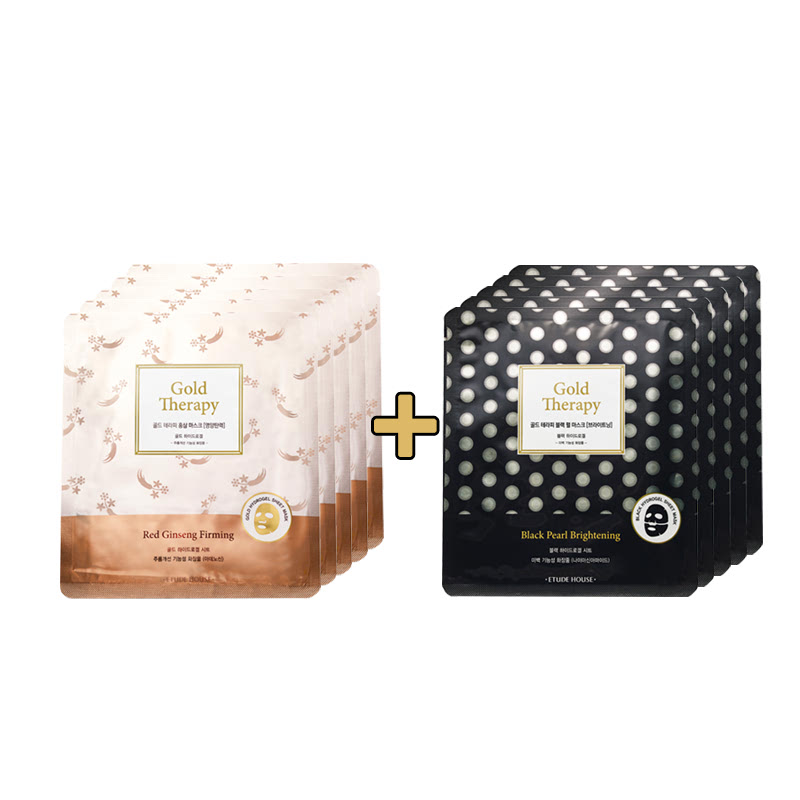 Etude House Gold Therapy Red Ginseng Mask 5Pcs + Gold Therapy Black Pearl Mask 5Pcs