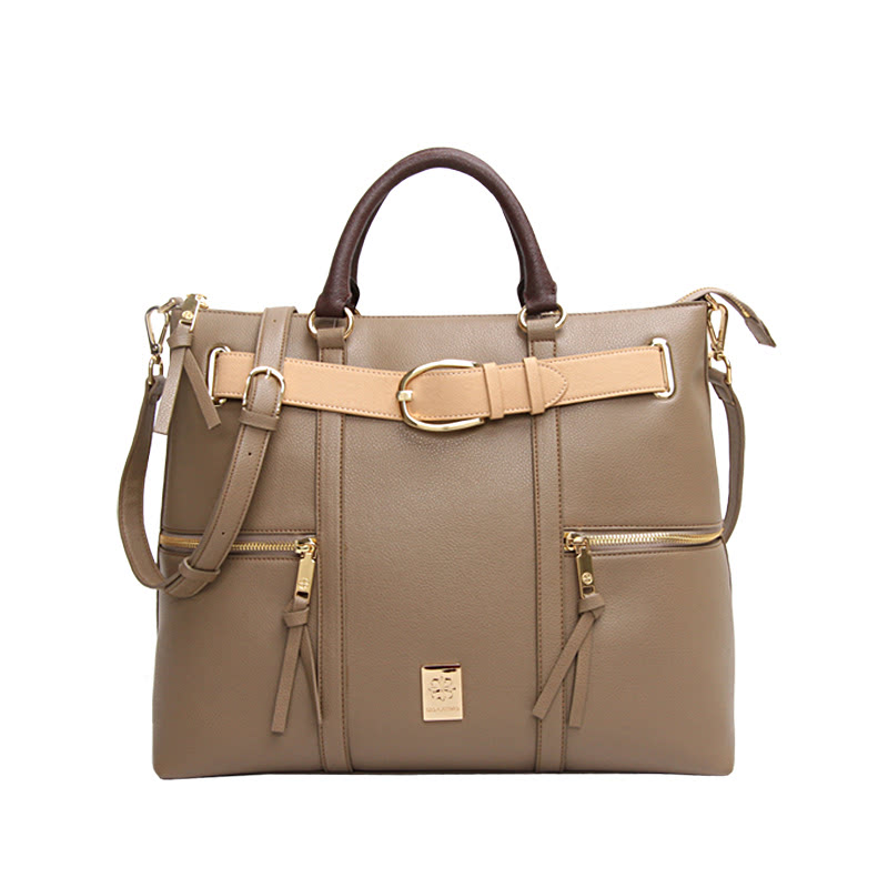 Les Catino New York Fifth Avenue Belt Tote Taupe Grey