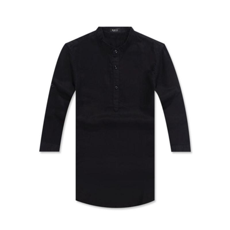 Henley Neck Three Quarter Roll-up Linen Shirt GS7203C - Black
