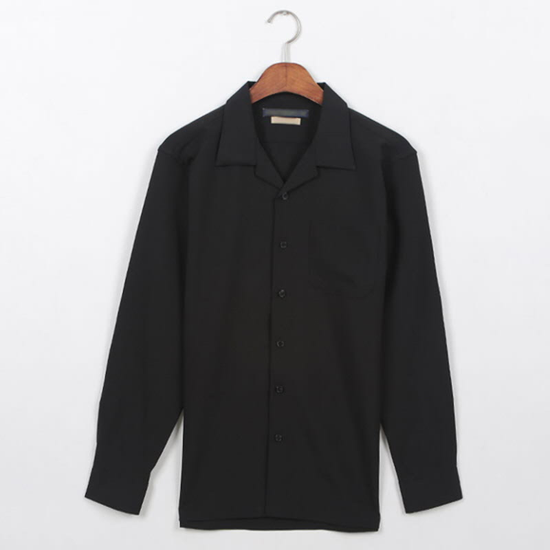 Planner Open Collar Shirt Black