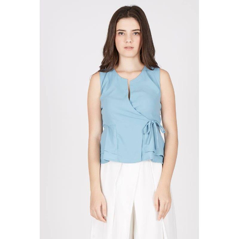 KI Sleeveless Tops with Pocket Light Blue