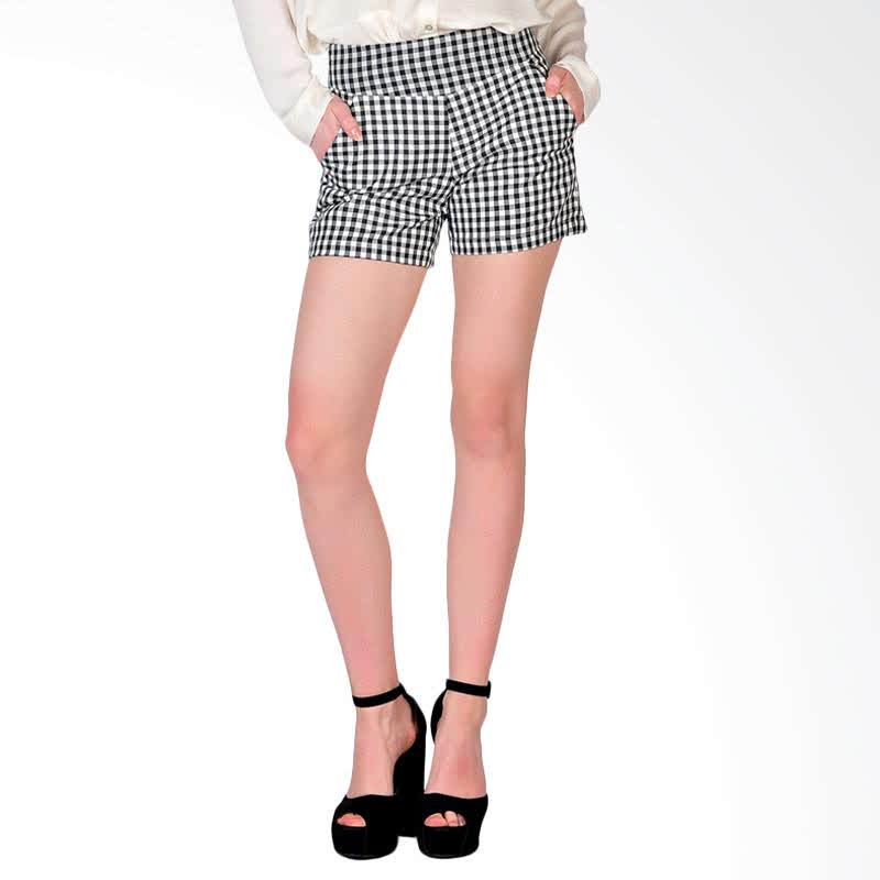 Sanremo Check Womens Shorts - Black
