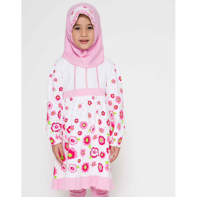 4 You Sweet Flower Moslem Long Dress Pink