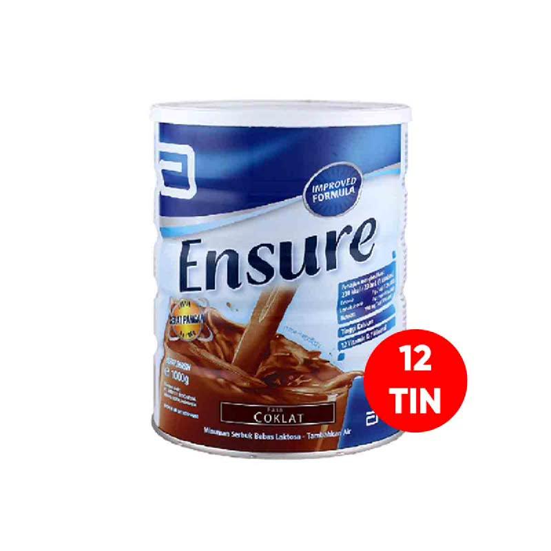 Abbott Powder Milk Ensure Fos Chocolate Tin 1000G (Get 12)