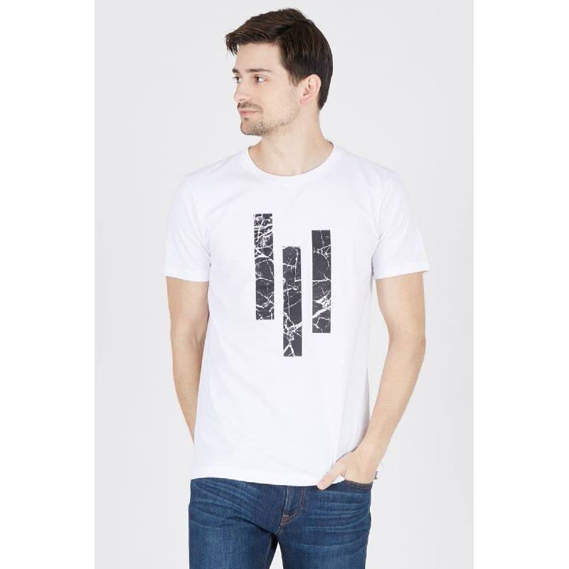 Mens T-Shirt Three Bars White