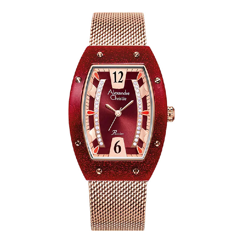 Alexandre Christie Passion AC 2856 LH BRGRE Ladies Red Dial Rose Gold Mesh Strap