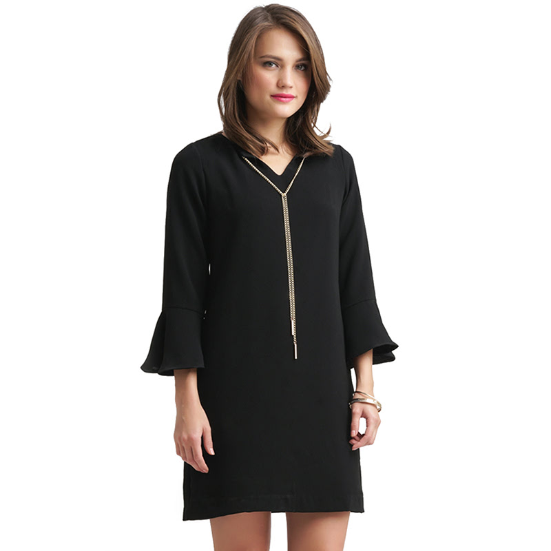 Minimal Collar Chain Dress JET BLACK