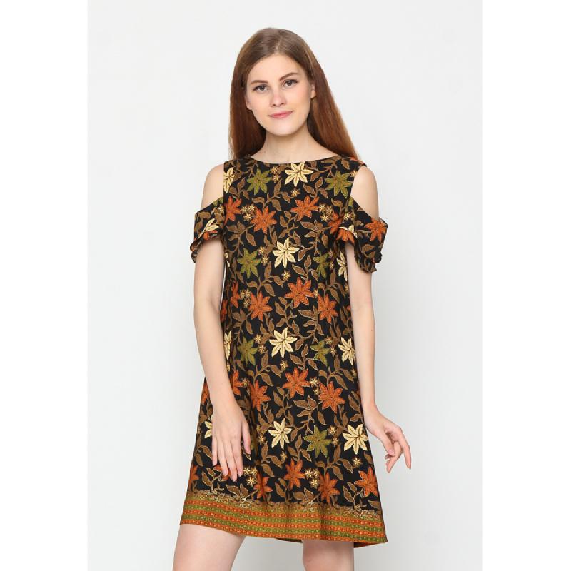 Agatha Off Shoulder Batik Shift Dress Mix Color