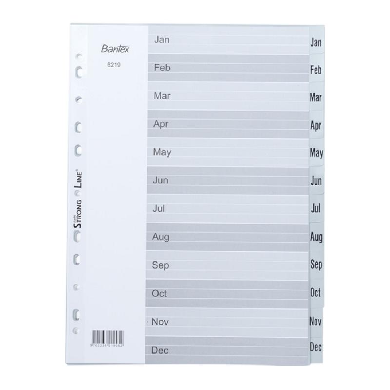 Bantex Numerical Indexes A4 Jan-Dec (12 pages) -6219 05