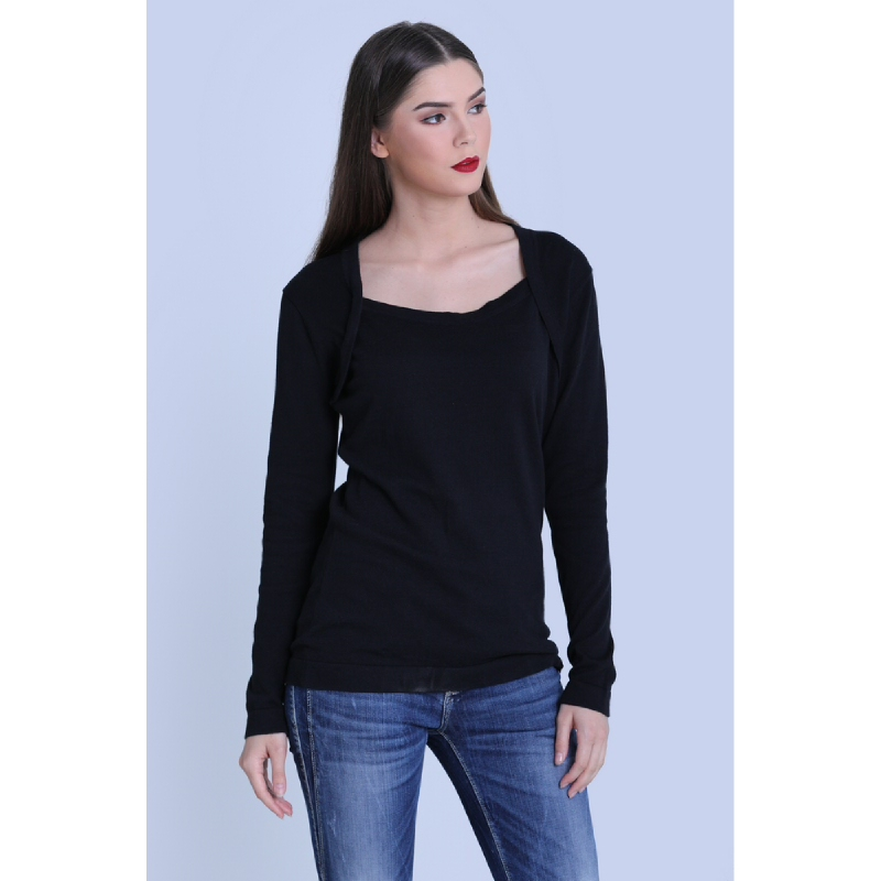 Miyoshi Josei MJ19BL207MC Black Flatknit Blouse