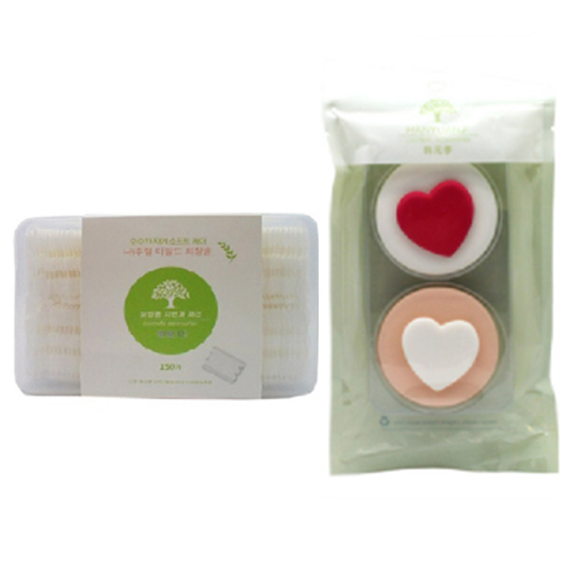 Copia Cosmetic Cotton 150Pcs + Copia Powder Puff Suit 2Pcs Heart