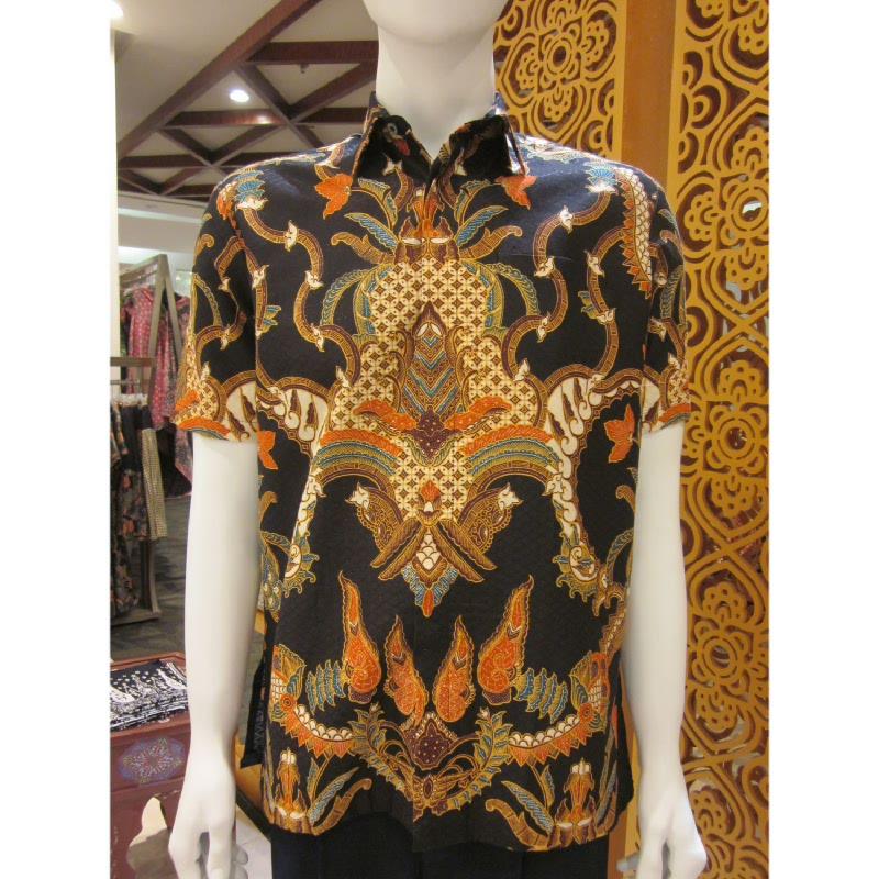 Batik Semar Hem Pendek Dobi Kawung Kinurung 20 Hitam (XL)
