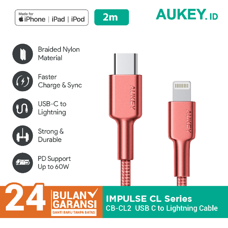 Aukey MFI Braided Nylon USB C To Lightning Cable 2 Meter RED - 500376