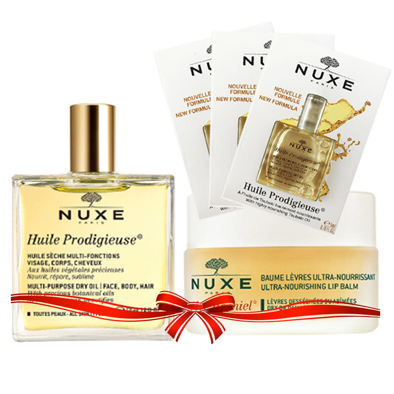 Nuxe Dry Skin No More Dry Oil 50ml + Lipbalm + Vial (3x)
