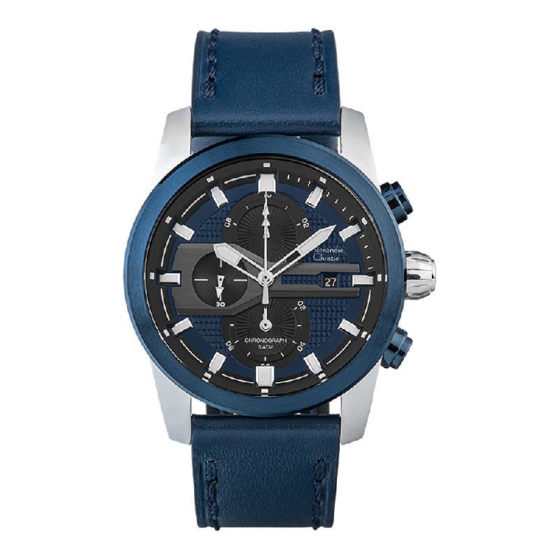 Alexandre Christie AC 6562 MCLTUBU Chronograph Men Black Dial Blue Navy Leather Strap