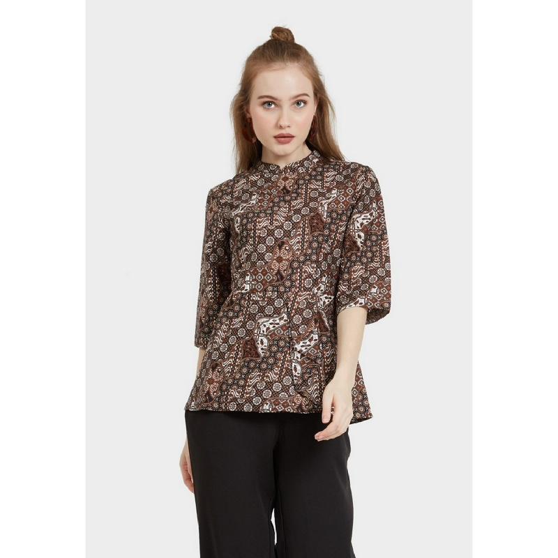 Arjuna Weda Blouse Batik Lereng Mukti Cokelat
