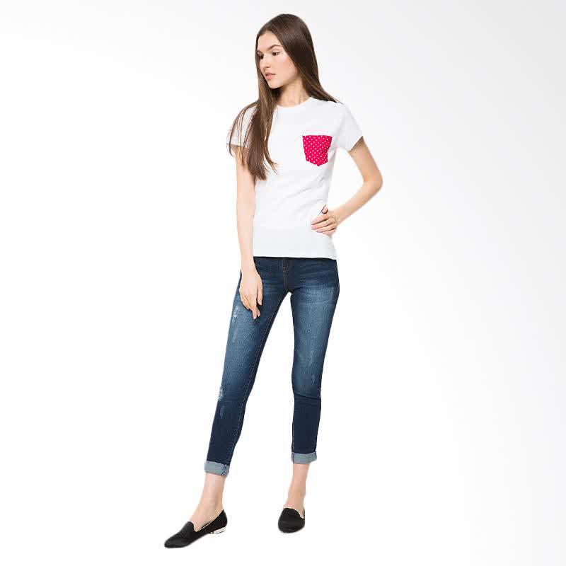 Ladies T-Shirt Reddish - White