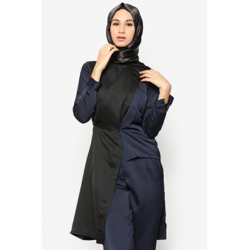 BIA by Zaskia Mecca Blouse Jersey Cathan Hitam Abu Kimono S3