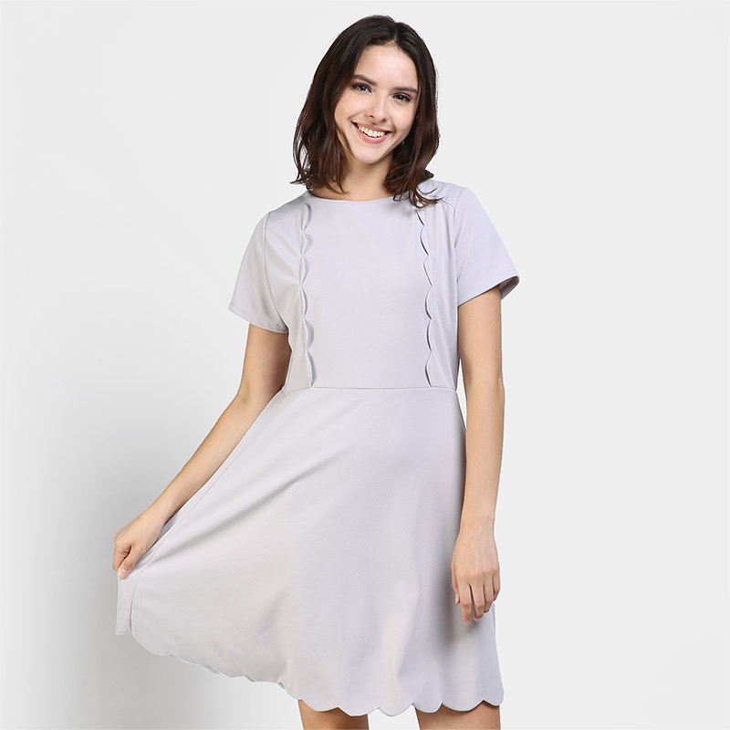 DRUG0657 Up Town Girl SS Scallop Edge Dress  Color Grey