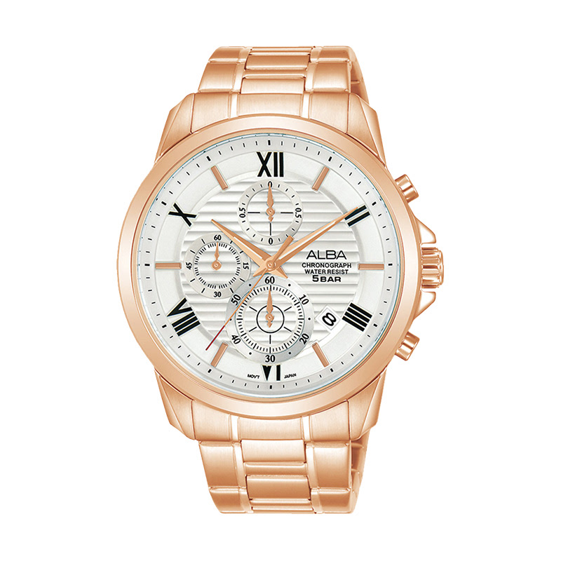 Alba AM3770X1 Chronograph Silver Pattern Dial Rose Gold Stainless Steel Strap