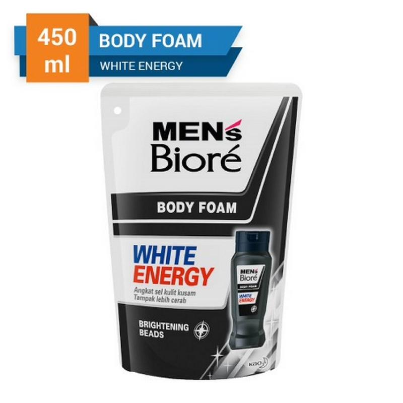 Biore Men's White Energy Body Foam Pouch 450 ml