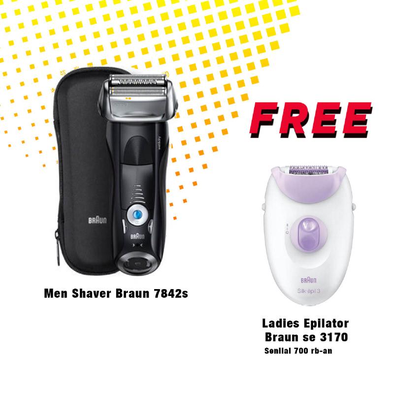 [PWG] BRAUN WET & DRY SHAVER FOR MEN 7842s 1401570 + FREE BRAUN WOMEN CORDED ELECTRIC EPILATOR SE3170