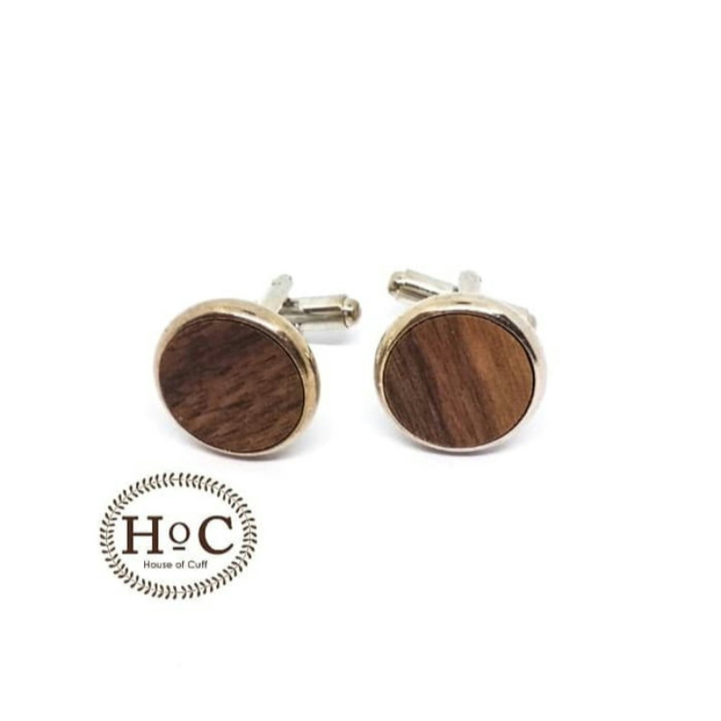 House Of Cuff Cufflinks  Manset Kancing Round Wood Medium Dark Cufflinks