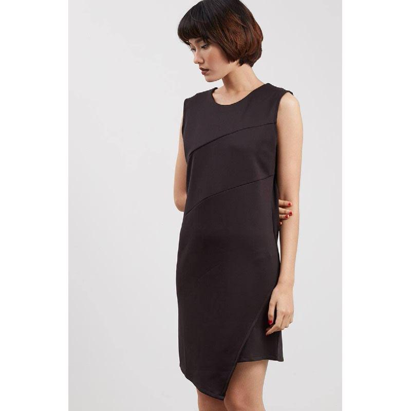 Rida Asymmetric Dress Black