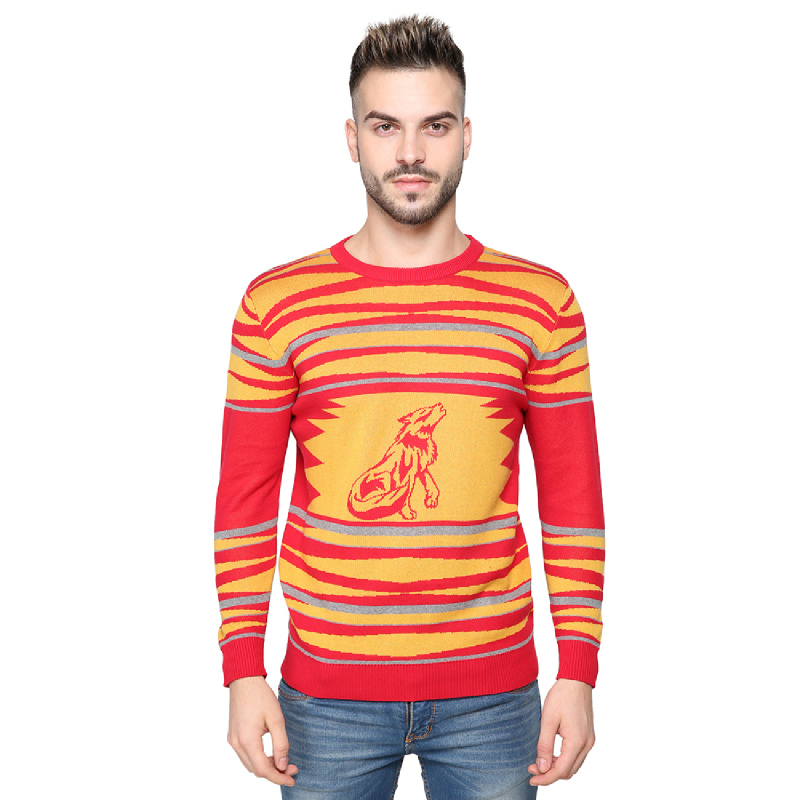 Knitwork Red - Yellow Howling Wolf Sweater KKM-18A