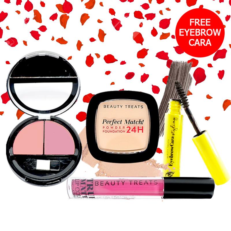 Beauty Treats Make Up Set A (Perfect Match Powder Foundation 24H No. 2 + True Matte Lip Color No. 4 + Duo Blush No. 3) FREE Eyebrowcara Dark Grey Brown