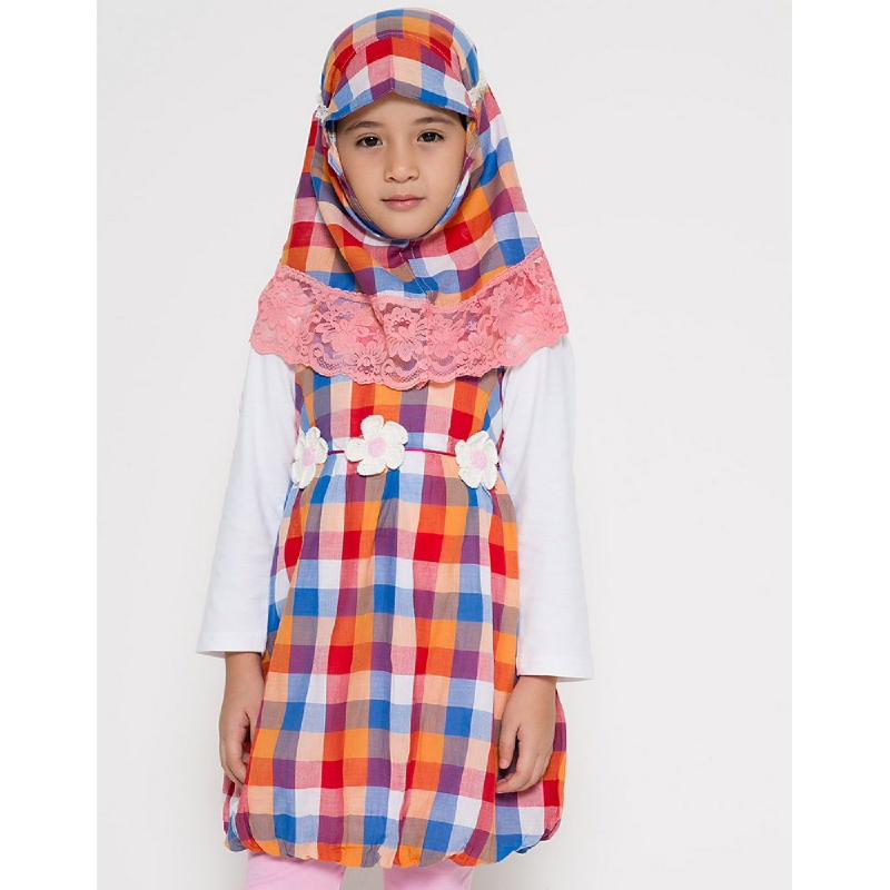 4 You Moslem Plaid Dress Orange